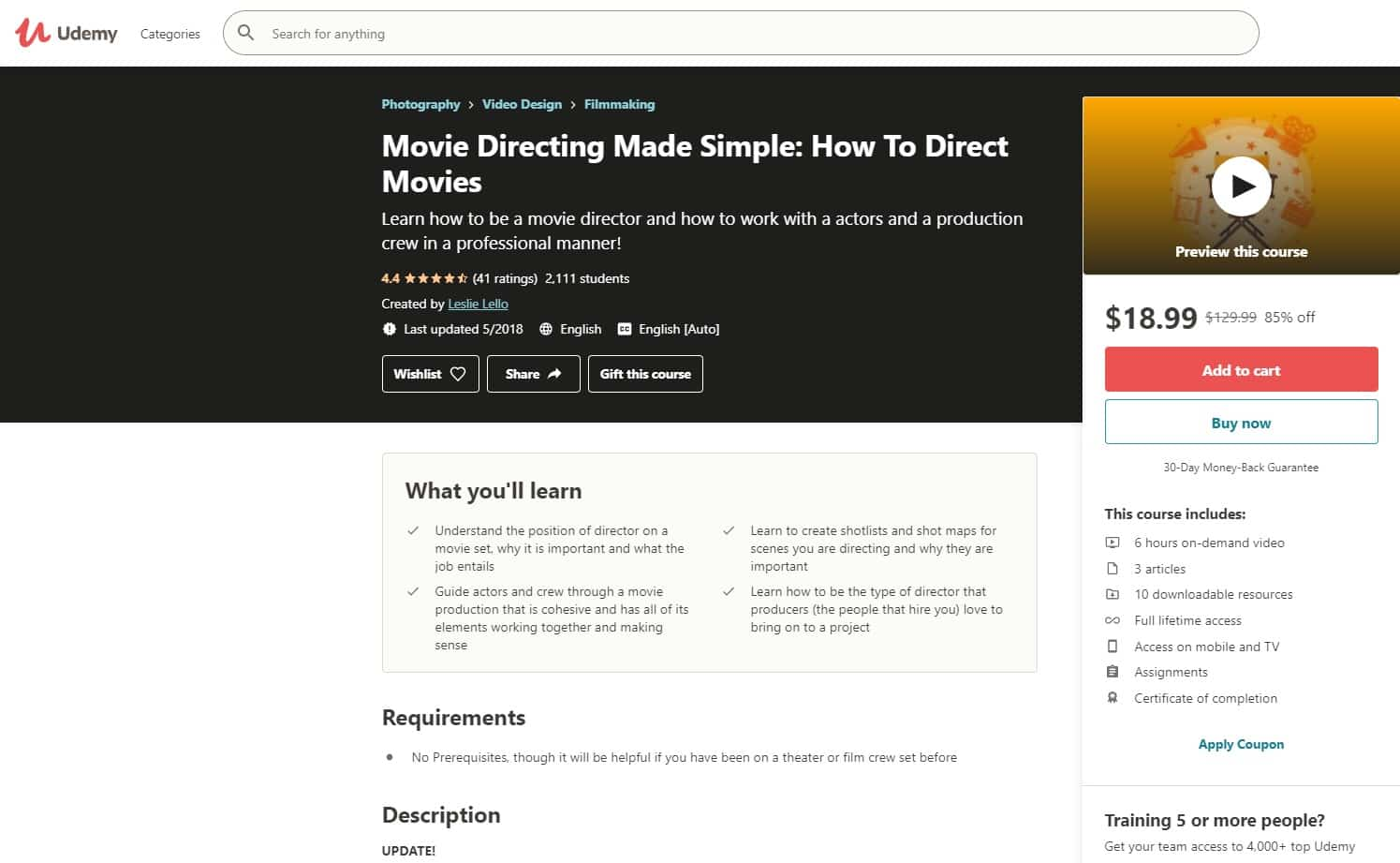 Udemy 3 Directing Lessons for Beginners