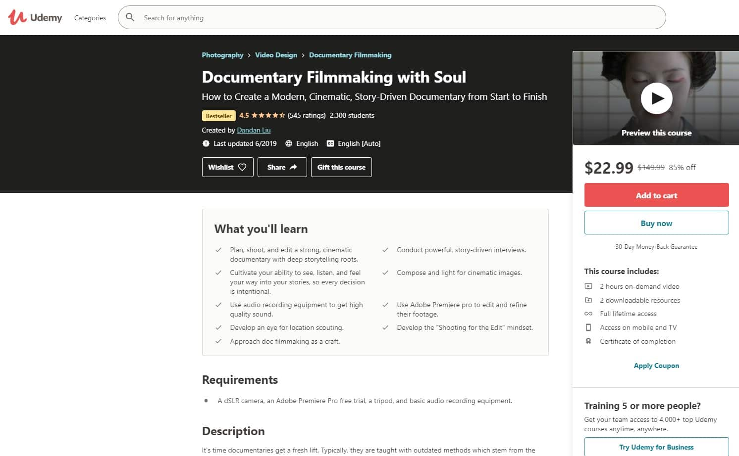 Udemy 3 Filmmaking Lessons for Beginners