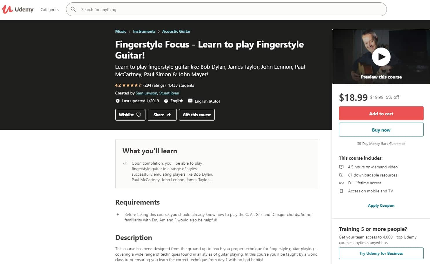 Udemy 3 Fingerstyle Guitar Lessons for Beginners