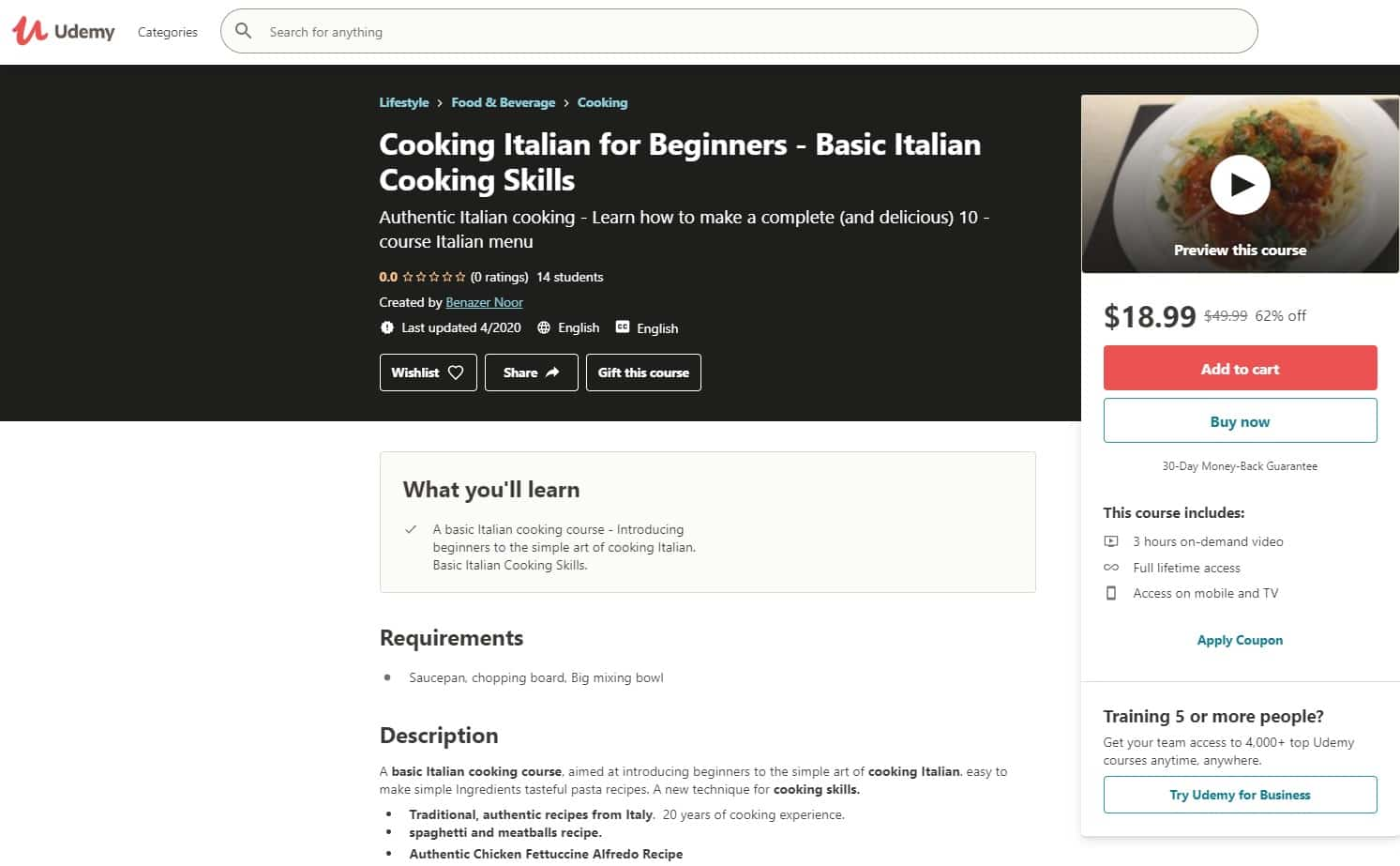 Udemy 3 Italian Cooking Lessons for Beginners