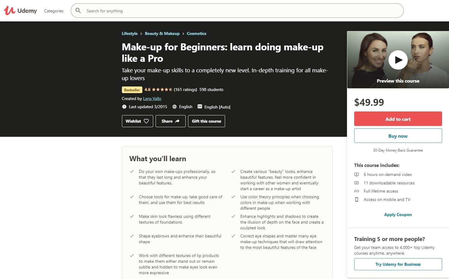 Udemy 3 Makeup and Beauty Lessons for Beginners