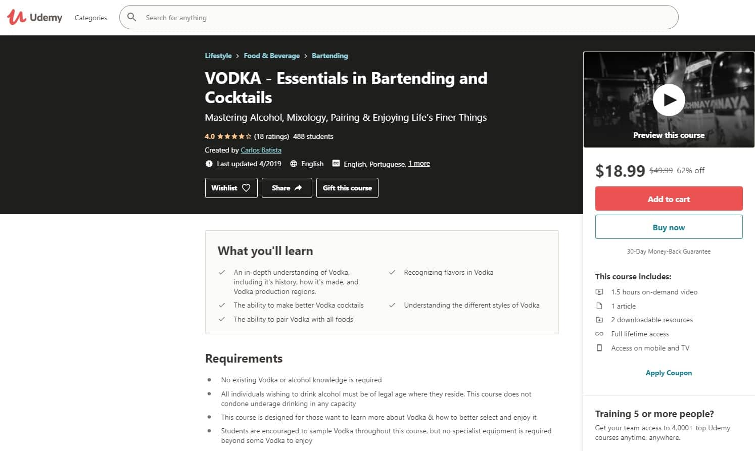 Udemy 3 Mixology Lessons for Beginners