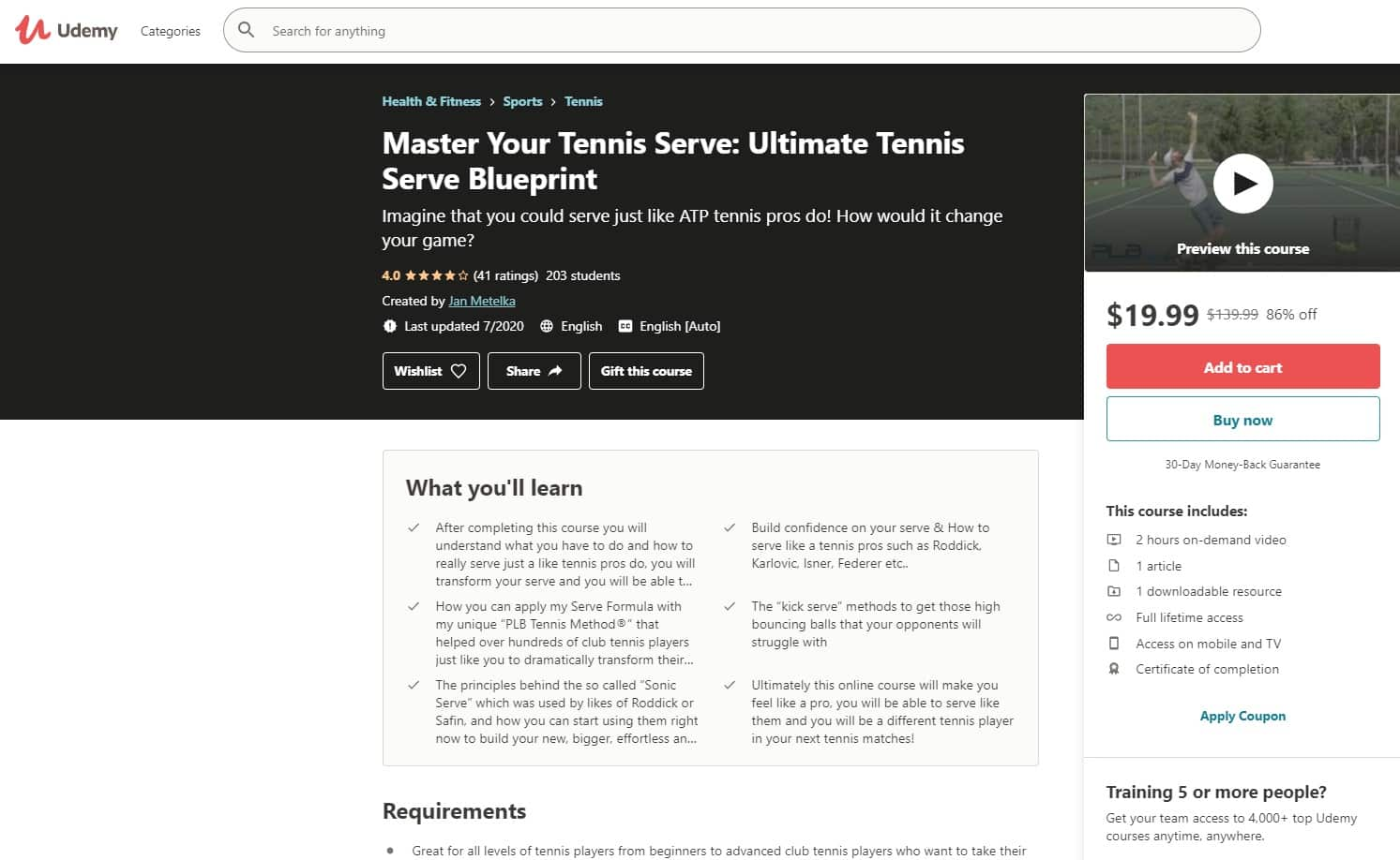 Udemy 3 Tennis Lessons for Beginners