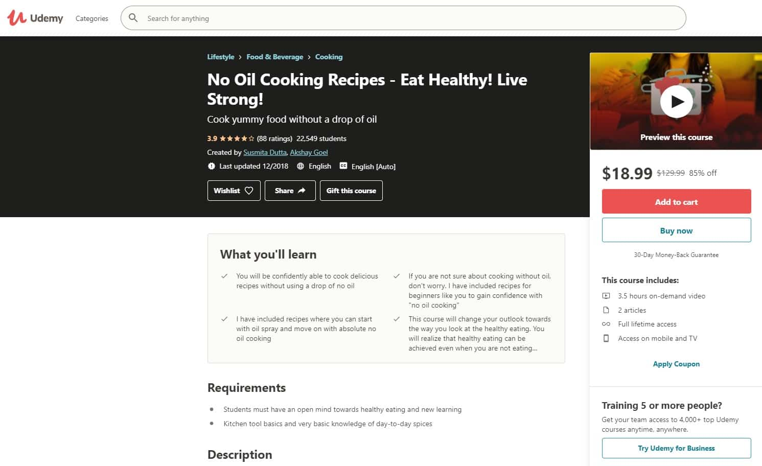Udemy 4 Cooking Lessons for Beginners