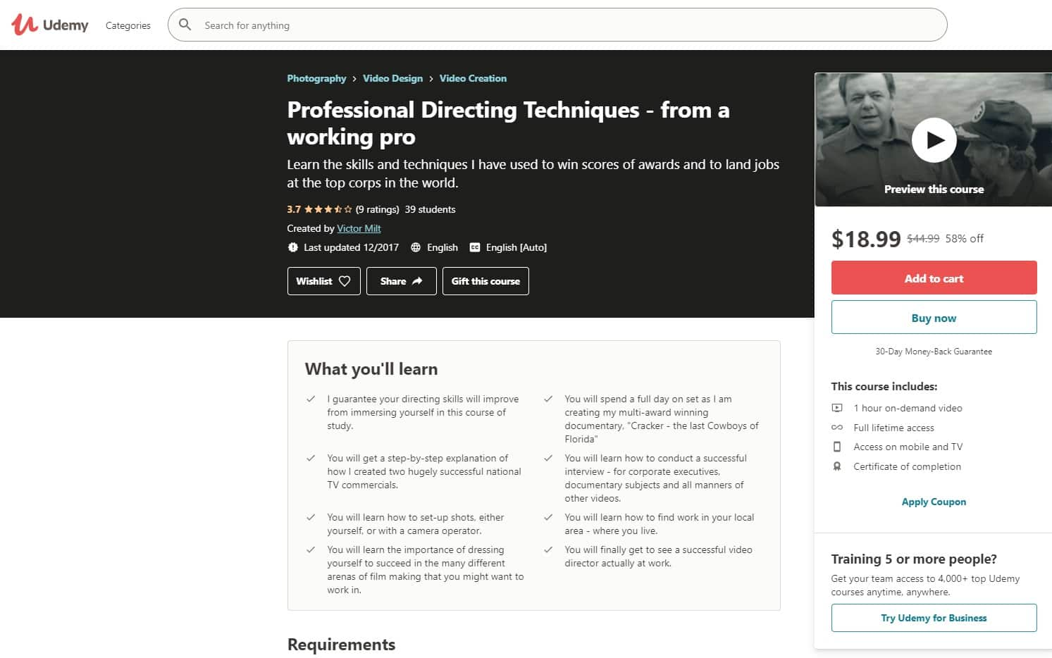Udemy 4 Directing Lessons for Beginners
