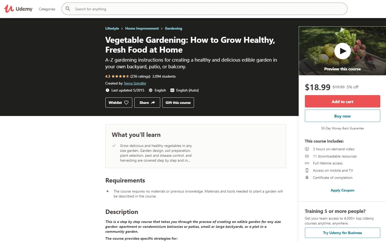 Udemy 4 Gardening Lessons for Beginners