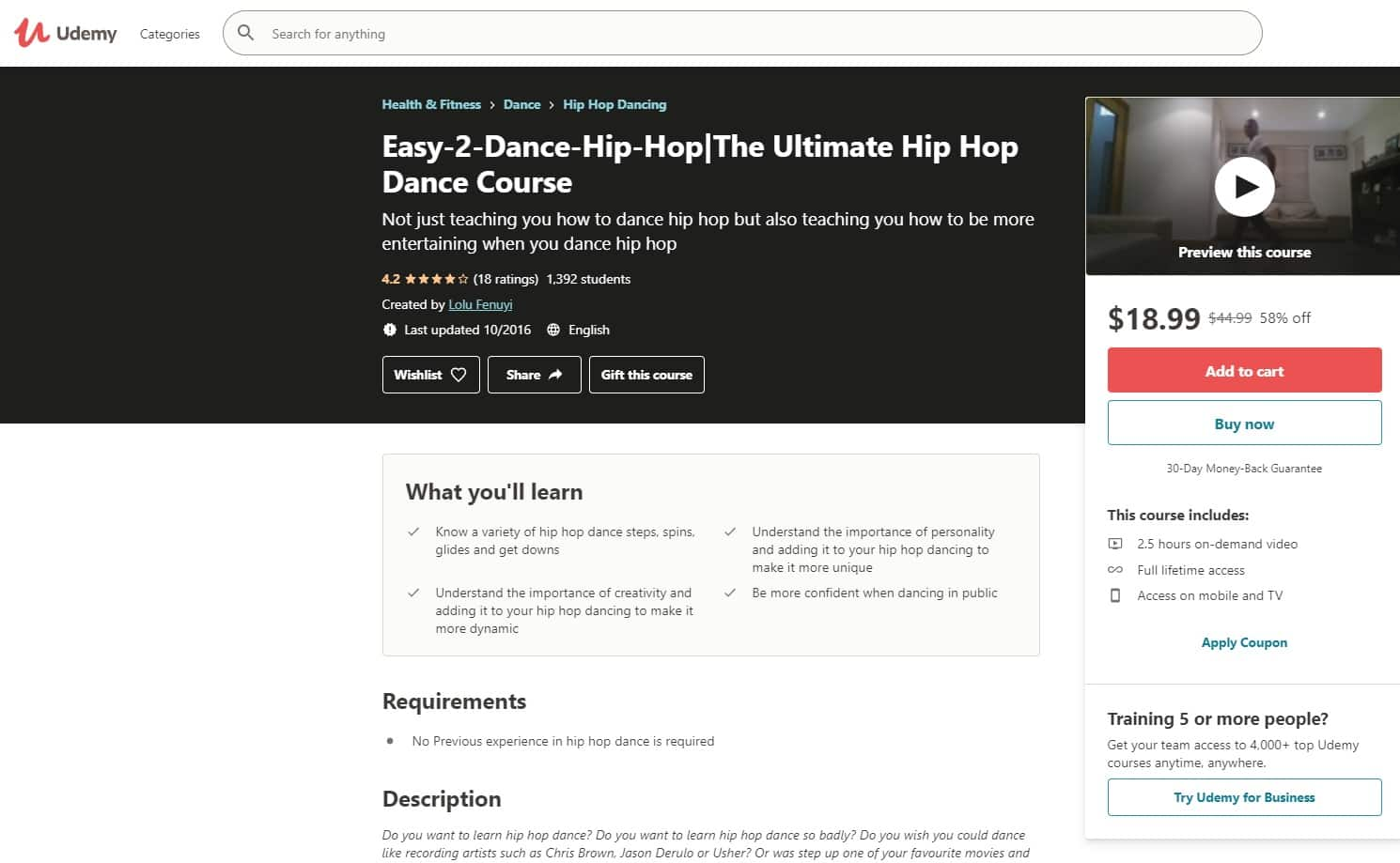 Udemy 4 Hip Hop Lessons for Beginners