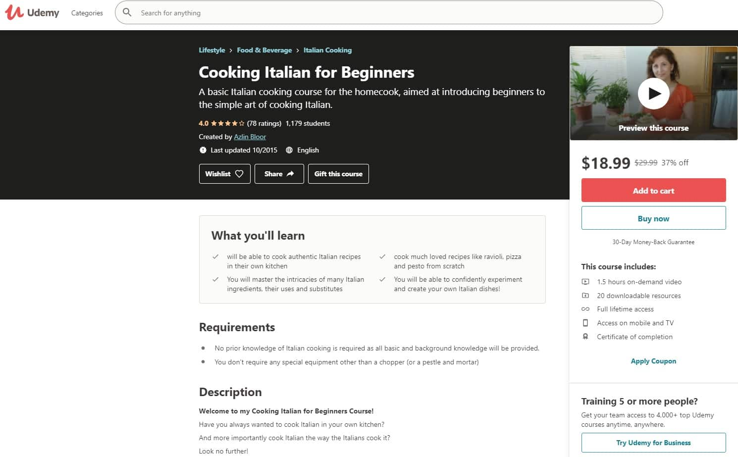 Udemy 4 Italian Cooking Lessons for Beginners