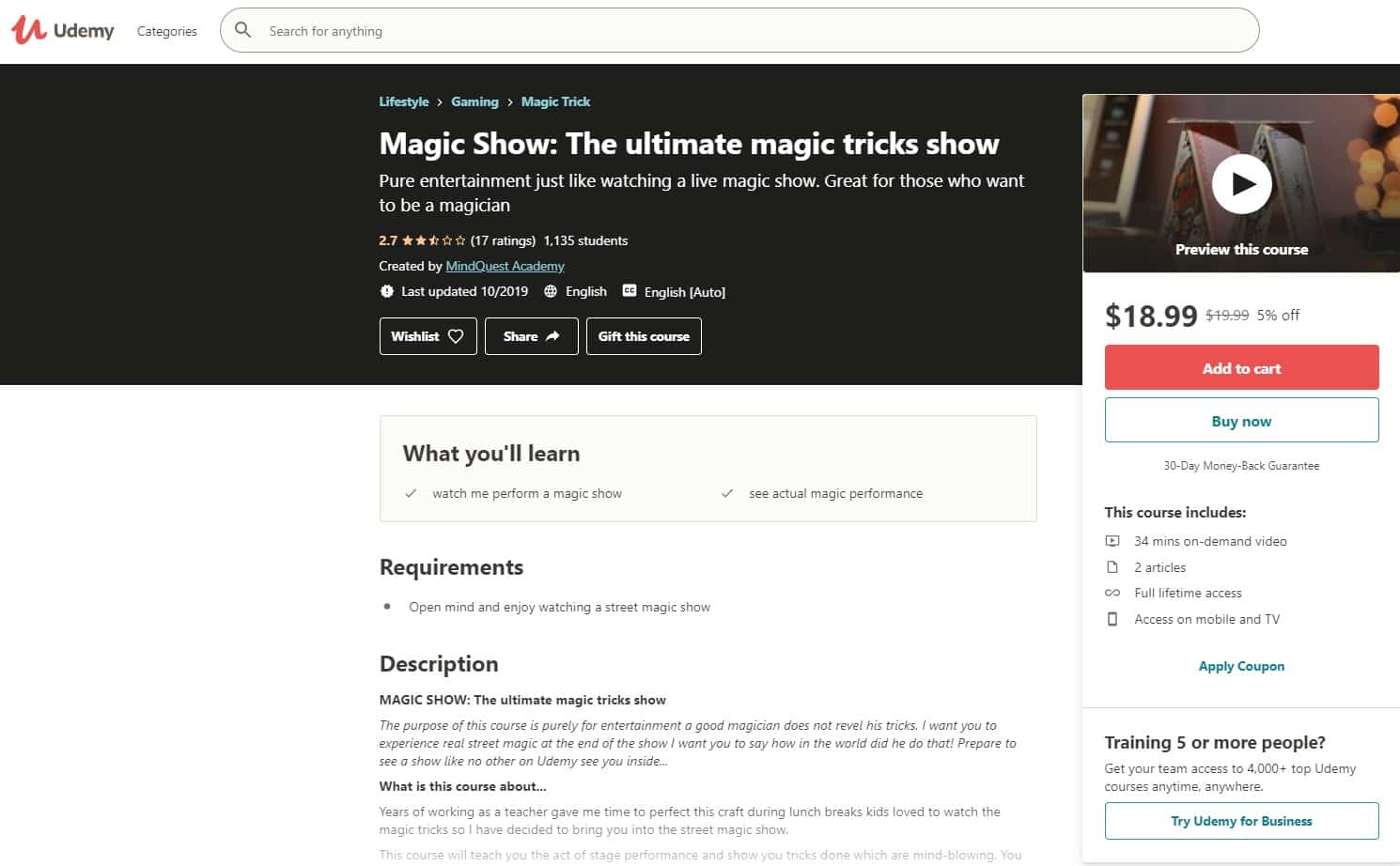 Udemy 4 Magic Lessons for Beginners