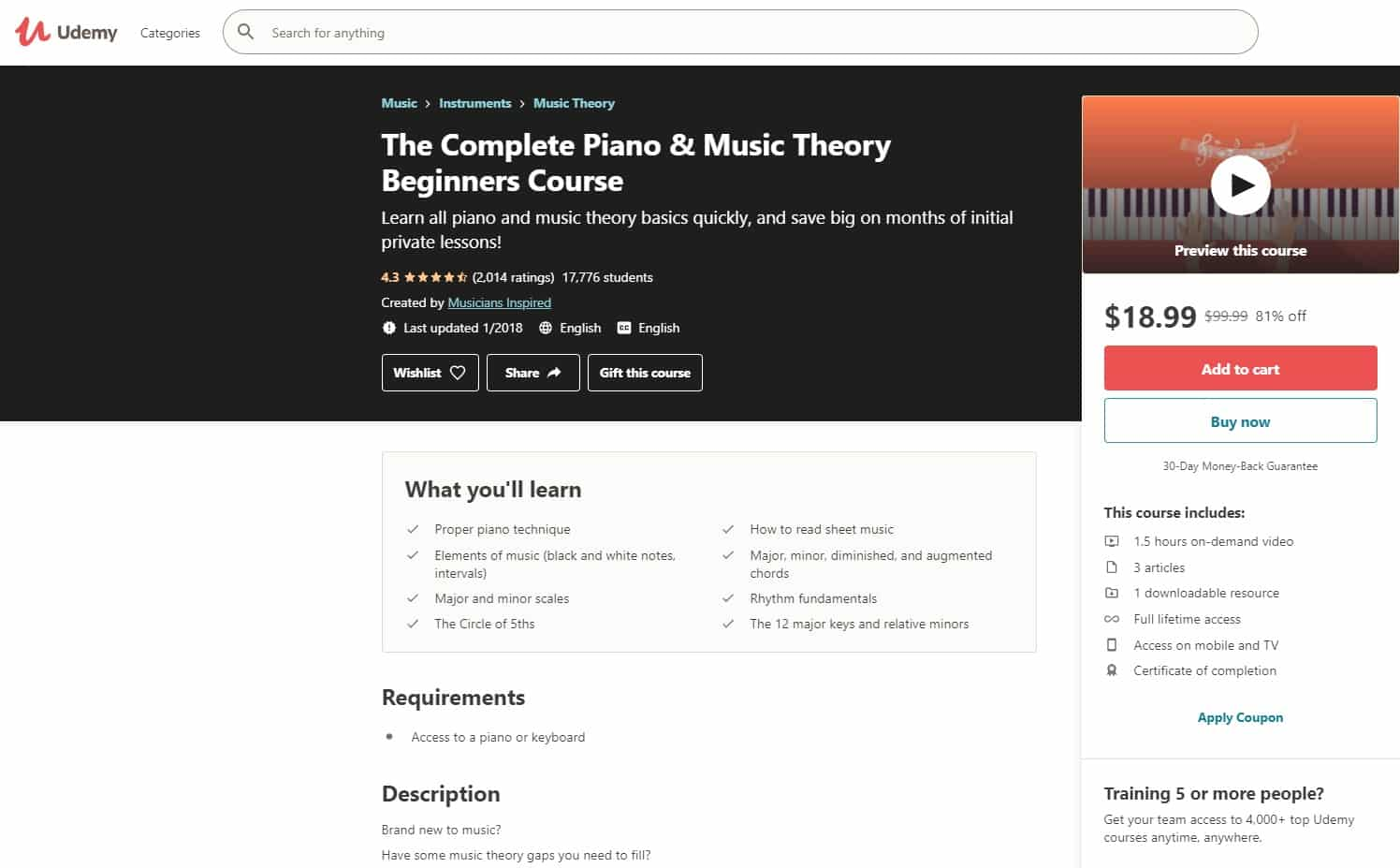 Udemy 4 Piano Lessons for Beginners