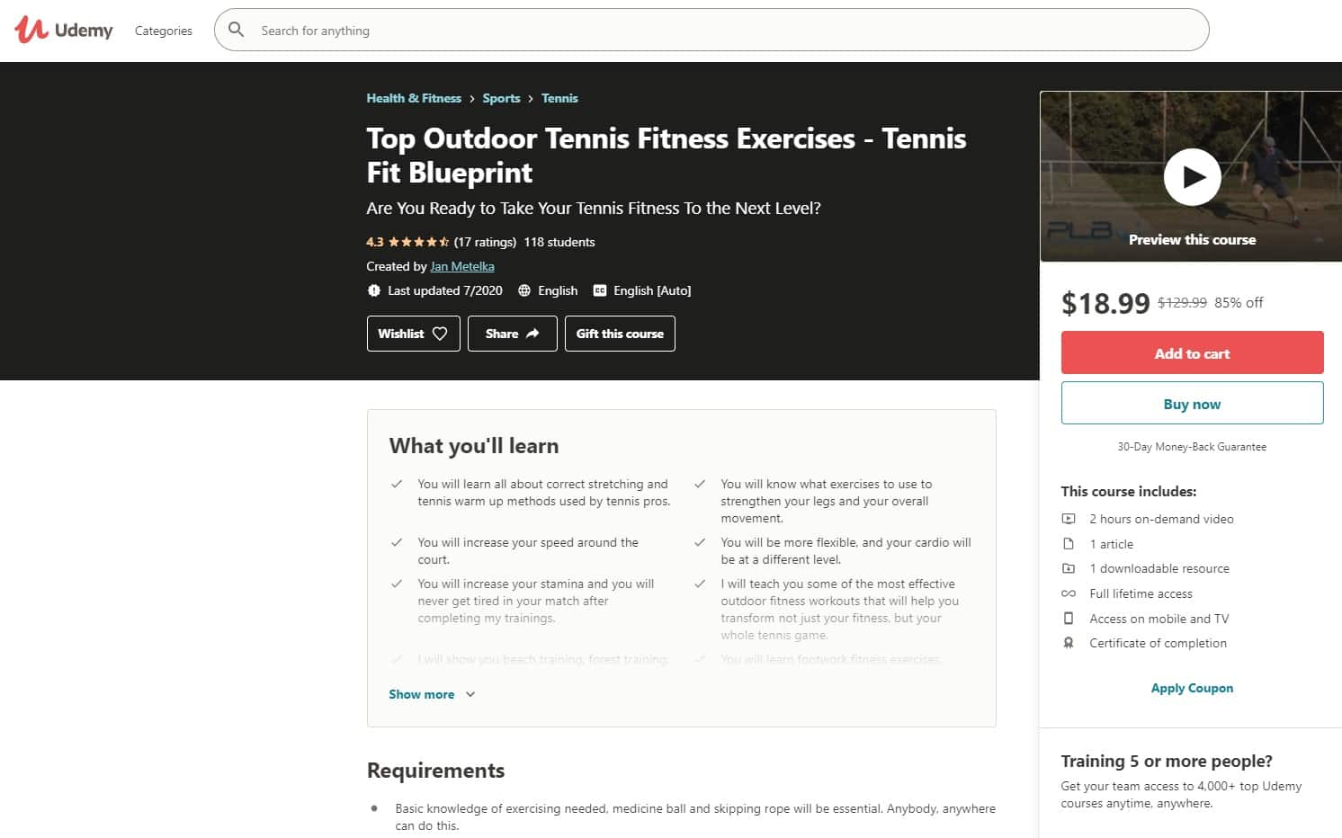 Udemy 4 Tennis Lessons for Beginners