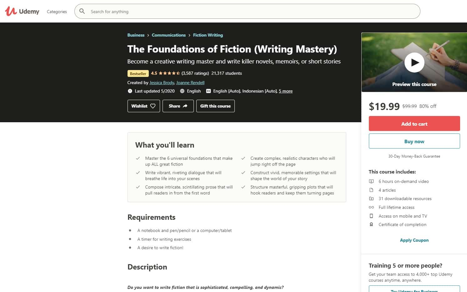 Udemy 4 Writing Lessons for Beginners