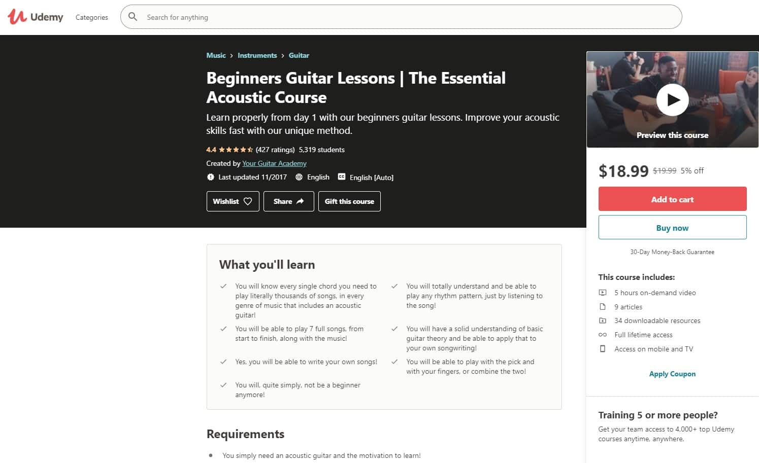 Udemy 5 Acoustic Guitar Lessons for Beginners