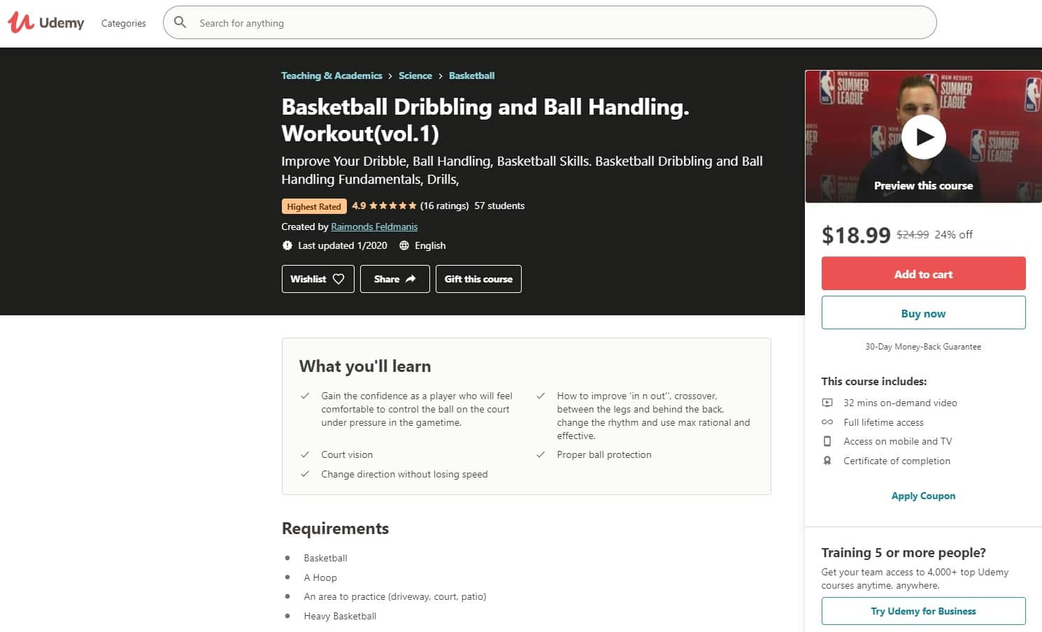Udemy 5 Basketball Lessons for Beginners