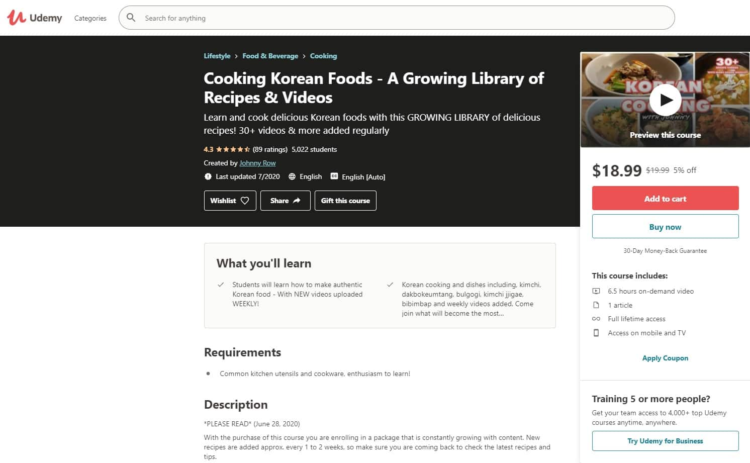 Udemy 5 Cooking Lessons for Beginners