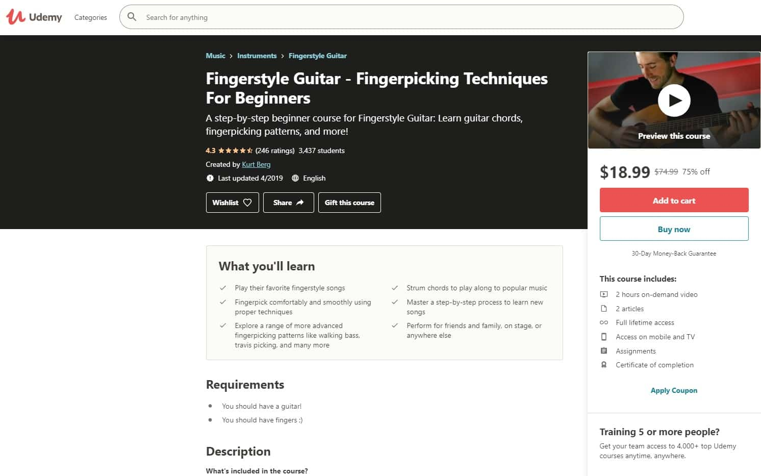 Udemy 5 Fingerstyle Guitar Lessons for Beginners