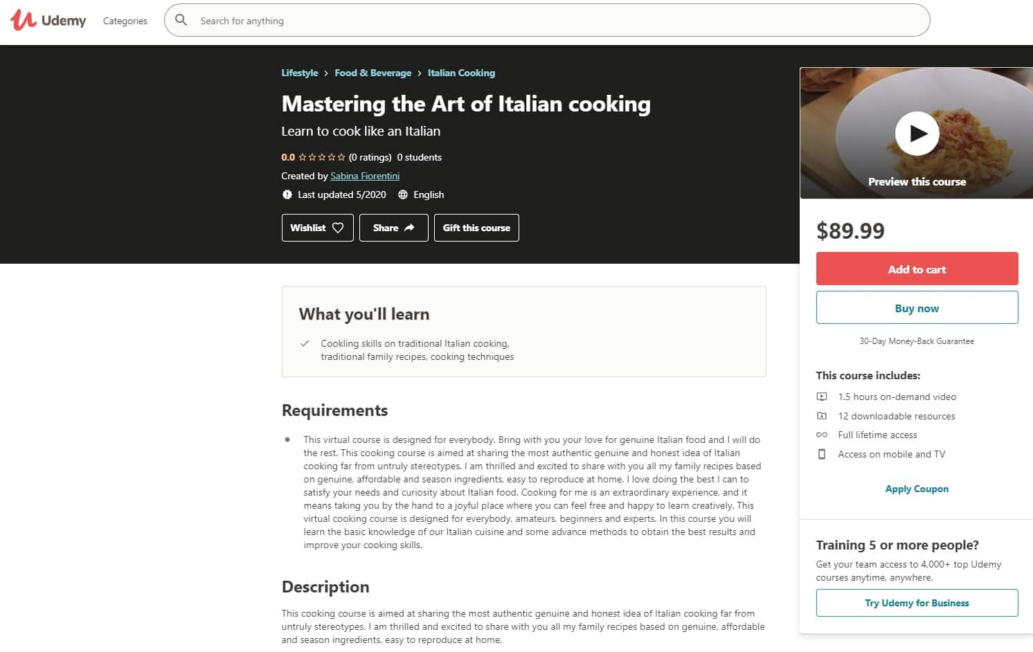 Udemy 5 Italian Cooking Lessons for Beginners
