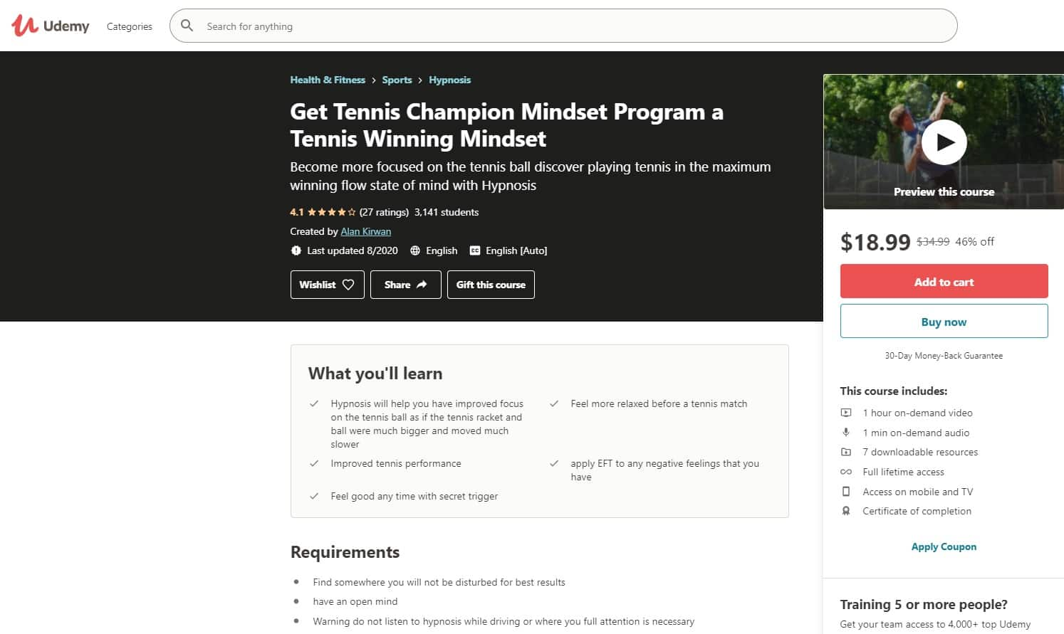 Udemy 5 Tennis Lessons for Beginners