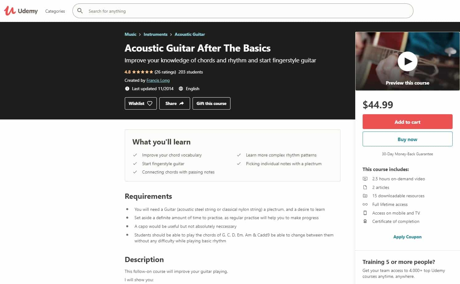 Udemy 6 Acoustic Guitar Lessons for Beginners