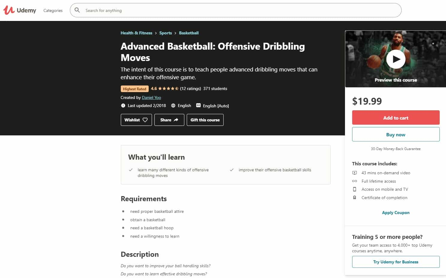 Udemy 6 Basketball Lessons for Beginners