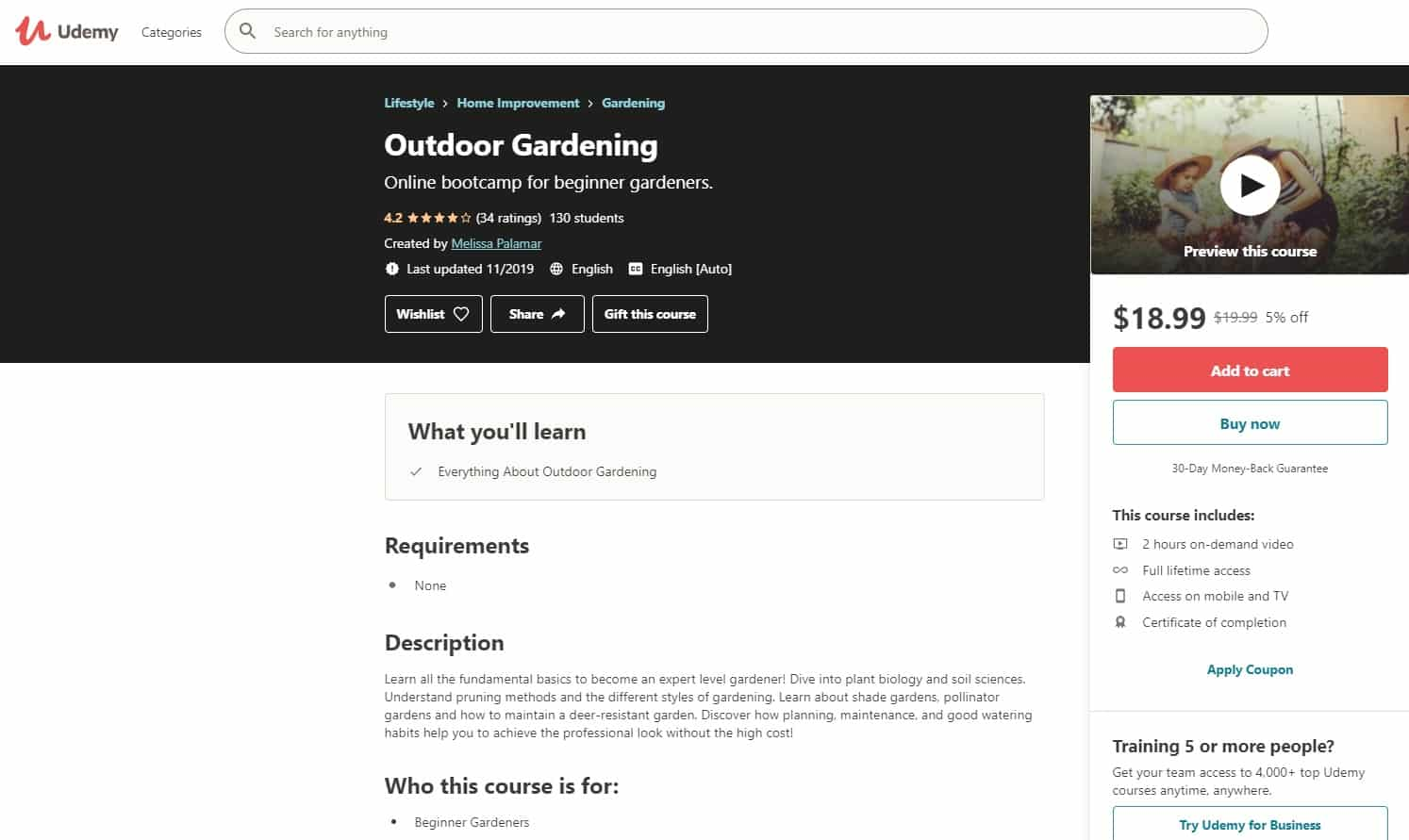 Udemy 6 Gardening Lessons for Beginners