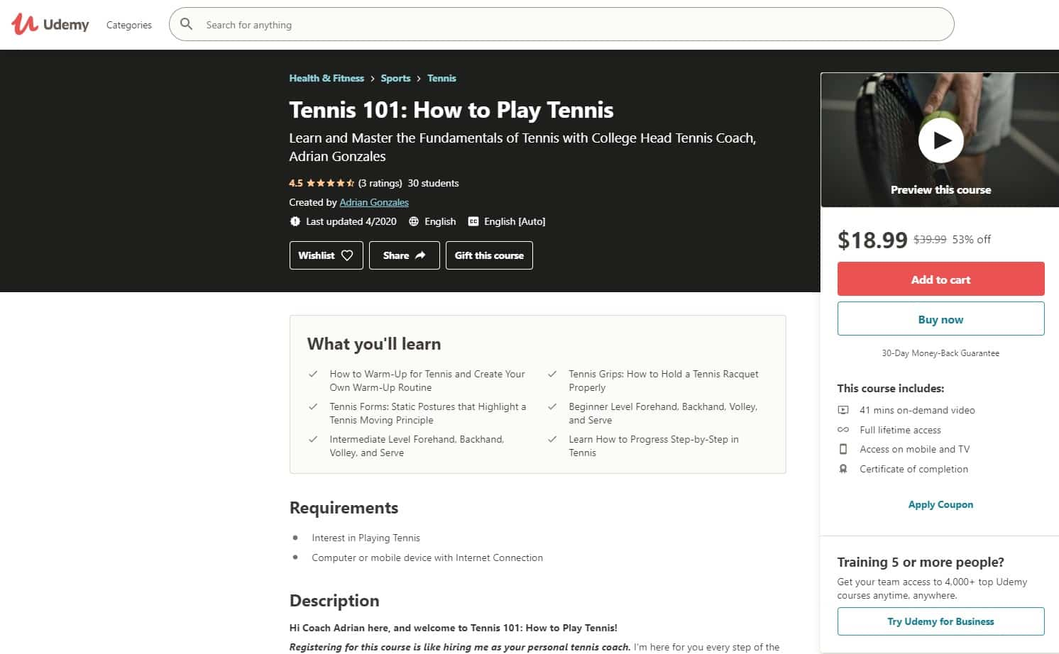 Udemy 6 Tennis Lessons for Beginners