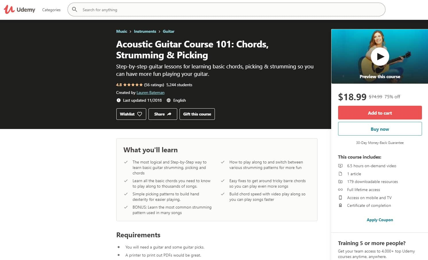 Udemy 7 Acoustic Guitar Lessons for Beginners