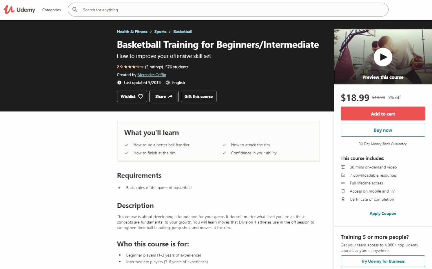 Udemy 7 Basketball Lessons for Beginners