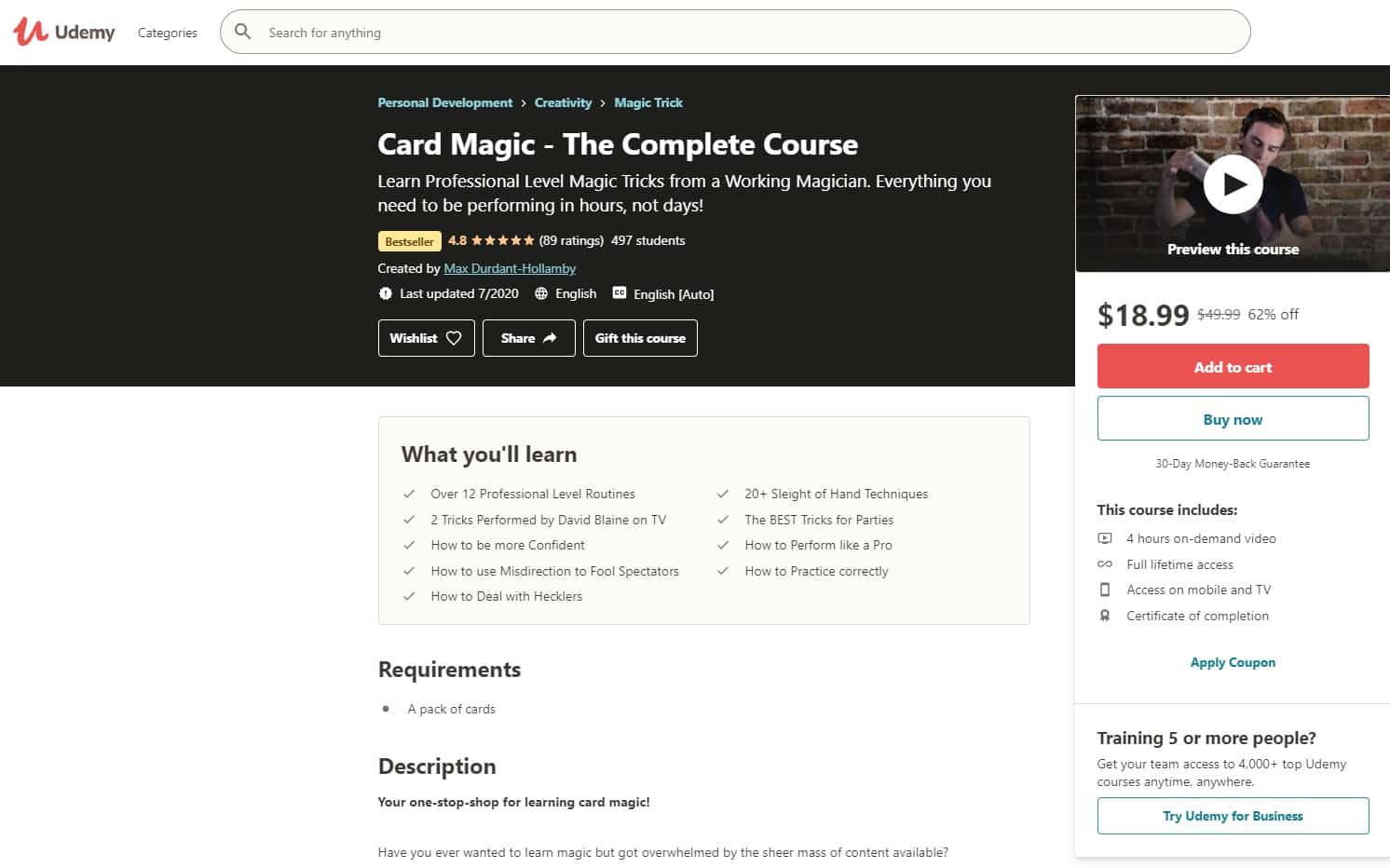 Udemy 7 Magic Lessons for Beginners