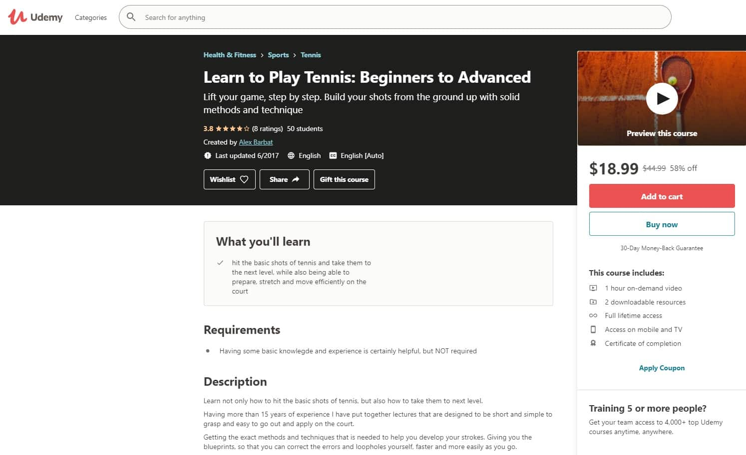 Udemy 7 Tennis Lessons for Beginners