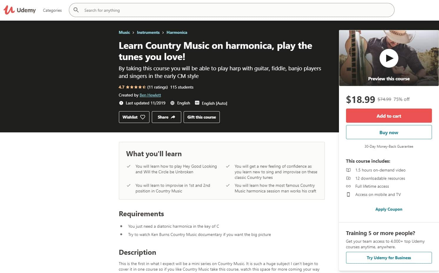Udemy Country Music Lessons for Beginners
