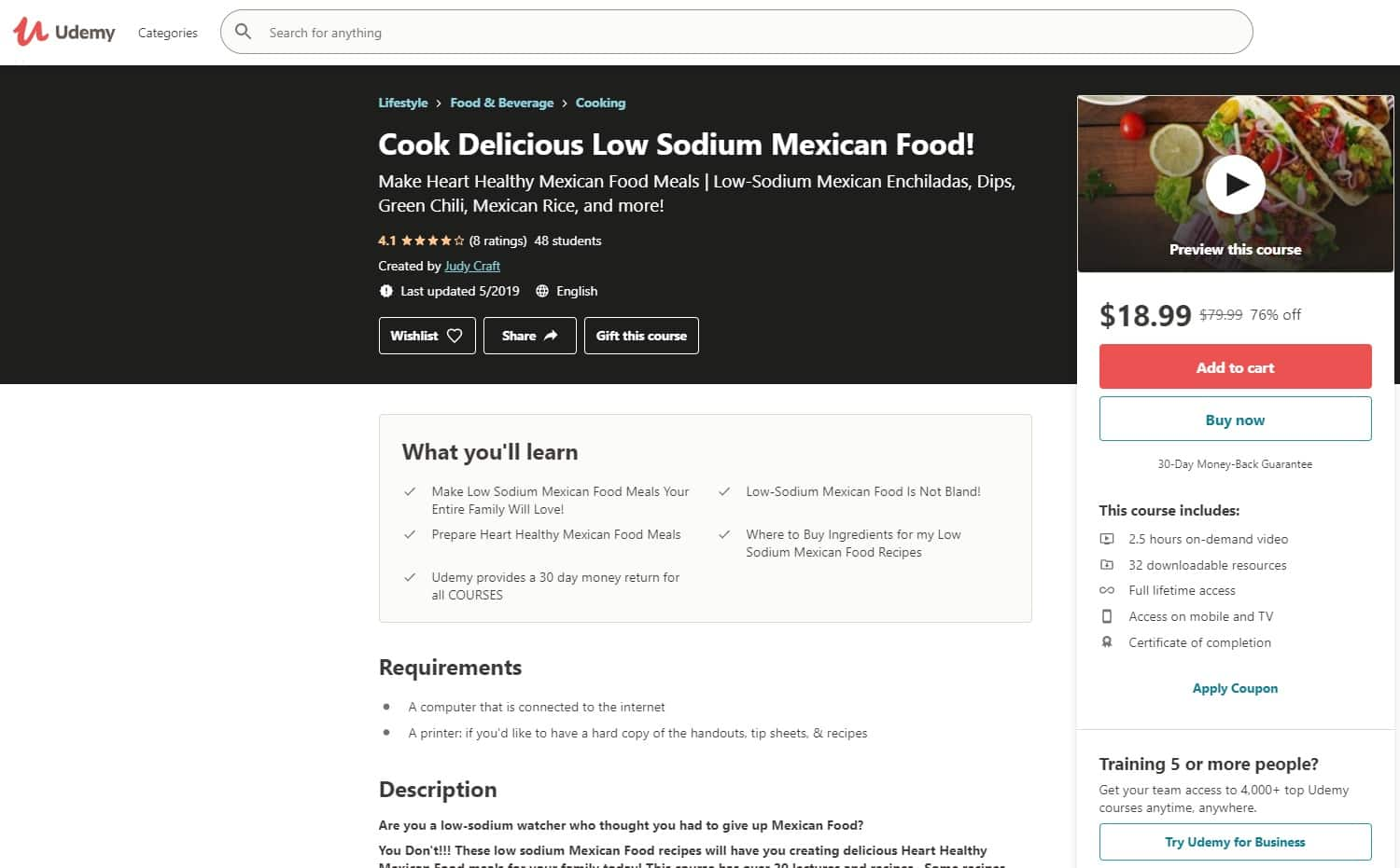 Udemy Mexican Cooking Lessons for Beginners
