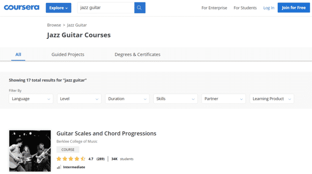coursera learn jazz guitar lessons online