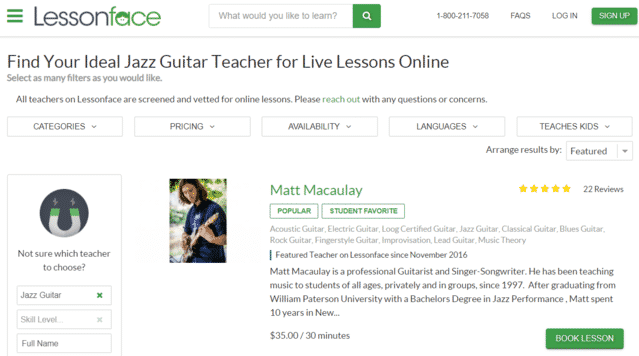 lessonface learn jazz guitar lessons online