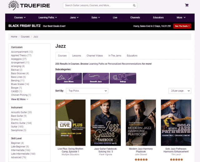 truefire learn jazz guitar lessons online