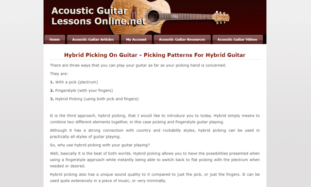 acousticguitarlessonsonline learn guitar hybrid picking lessons online