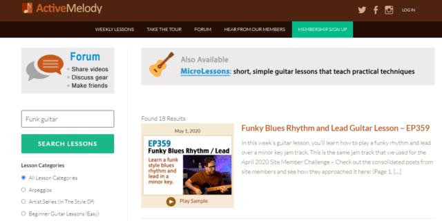 activemelody learn funk guitar lessons online