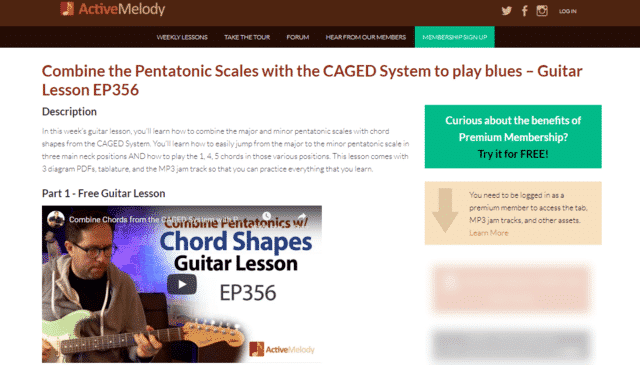 activemelody learn guitar pentatonic lessons online