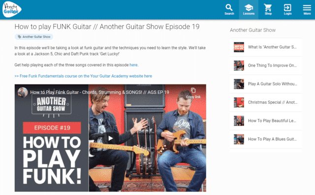 andyguitar learn funk guitar lessons online