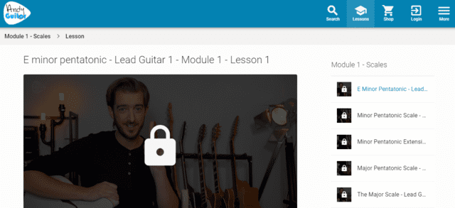 andyguitar learn guitar pentatonic lessons online