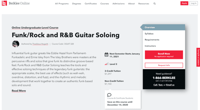 berklee learn funk guitar lessons online