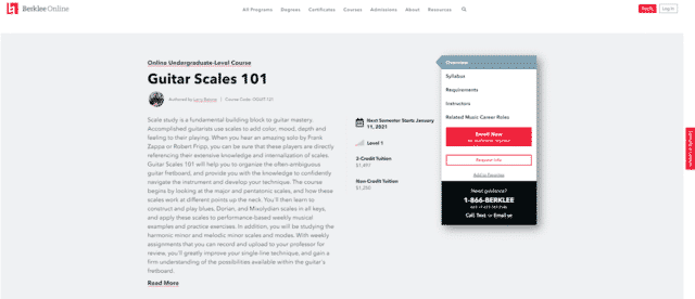 berklee learn guitar scale and modes lessons online