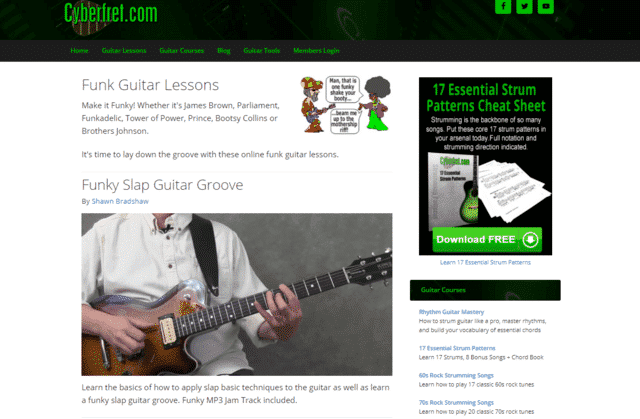 cyberfret learn funk guitar lessons online