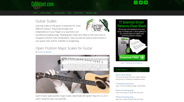 cyberfret learn guitar scale and modes lessons online