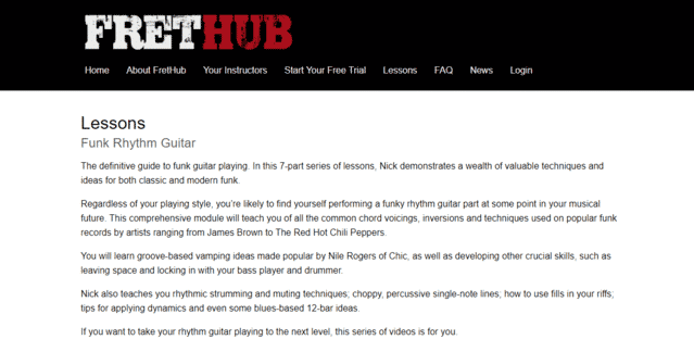 frethub learn funk guitar lessons online