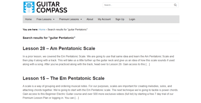 guitarcompass learn guitar pentatonic lessons online
