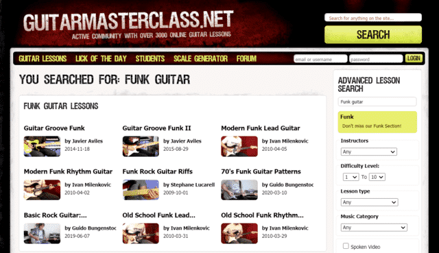 guitarmasterclass learn funk guitar lessons online