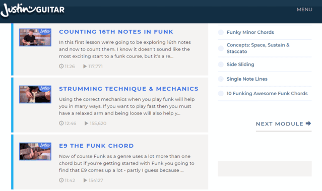 justinguitar learn funk guitar lessons online