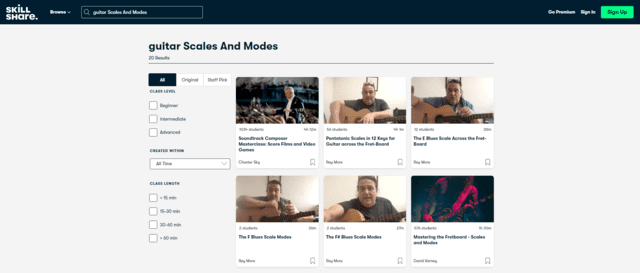 skillshare learn guitar scale and modes lessons online