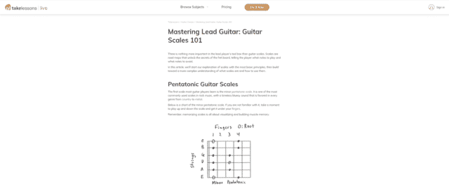 takelessons learn guitar scale and modes lessons online
